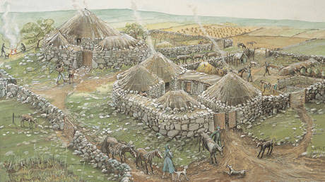 Iron Age Village at Chysauster in Cornwall. Courtesy English Heritage.