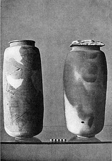 Two of the pots which held the Scrolls