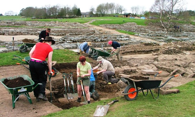 Archaeologists at work at Vindolanda