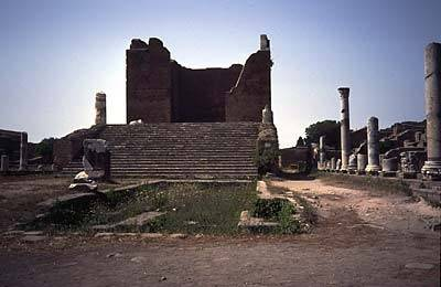 The ruins around the Roman port of Ostia