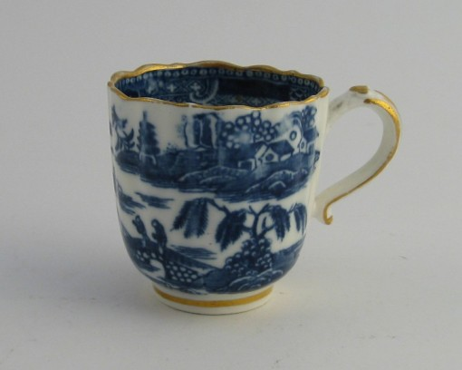 Caughley fluted coffee cup underglaze blue c 1785
