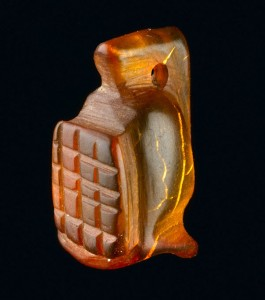 Amber gladiator amulet. from the Walbrook Area