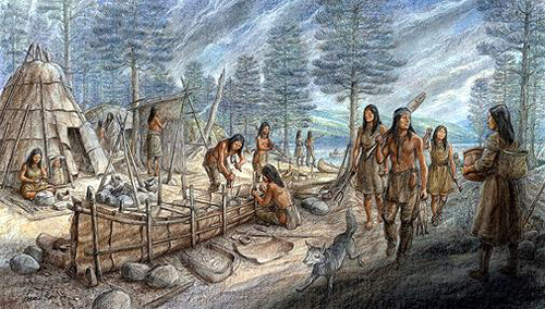 An  Algonquian Tribal Village Scene.