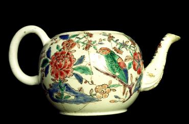 Staffordshire Saltglazed stoneware teapot painted in enamels c l750