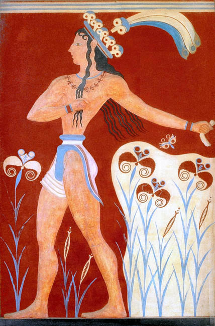 Minoan Priest King  Feathered Prince of Lilies fresco
