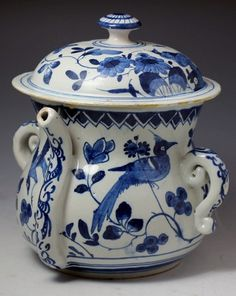 Blue and White Delft Posset Pot c l700