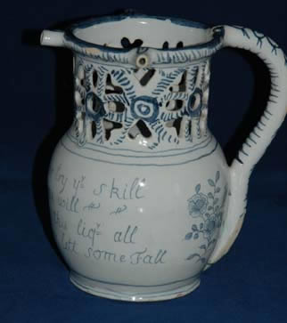 English Delft Puzzle Jug poss Liverpool c 1740