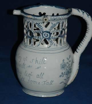 English Delft Puzzle Jug poss Liverpool c 1740