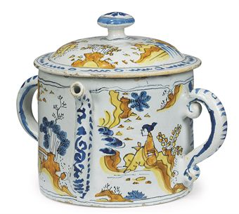 English Delftware Polychrome Posset pot c l670-l690