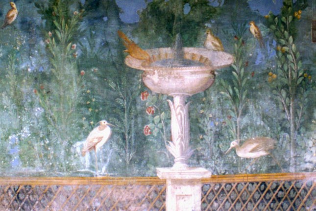 Fresco Birds and Bath Pompeii