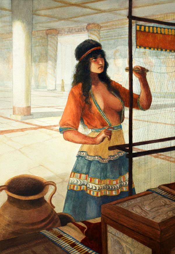 Mycenaean Wman weaving