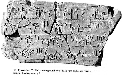 Pylos Tablet Tn 996 Linear B  Showing numbers of bath - tubs and other vessels.