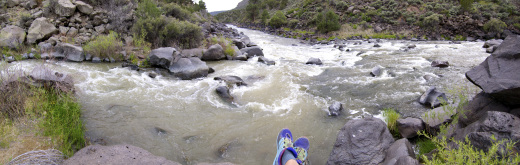 At the confluence of the Red (left) and Rio Grande (right) Rivers