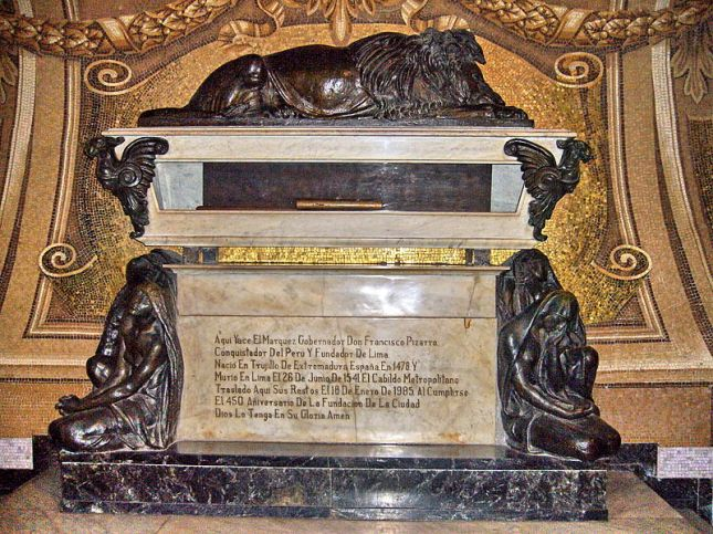 The tomb of Francisco Pizarro at the Cathedral of Lima.  Image Credit: Wikipedia.
