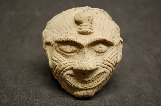 Fired clay mask of Humbaba. Old Babylonian, 2000?1700 BC; From Ur, southern Iraq.  (ME 127443)