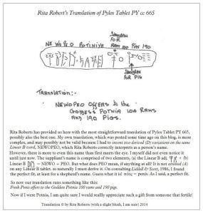 Pylos Tablet PY cc 665 translation