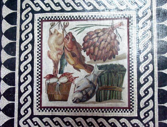 Roman Mosaic with asparagus
