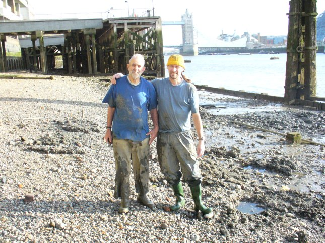 Tony Pilson and Ian Smith on the Thames foreshore