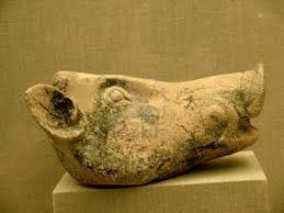 Pottery Boars Head from Akrotiri