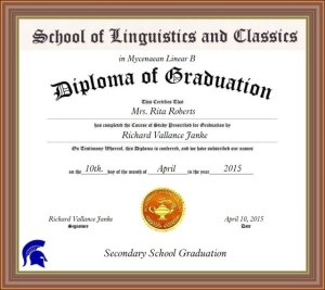 Secondary School Diploma Mycenaean Linear B Rita Roberts