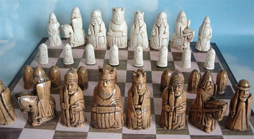 Lewis Chess set on the board.