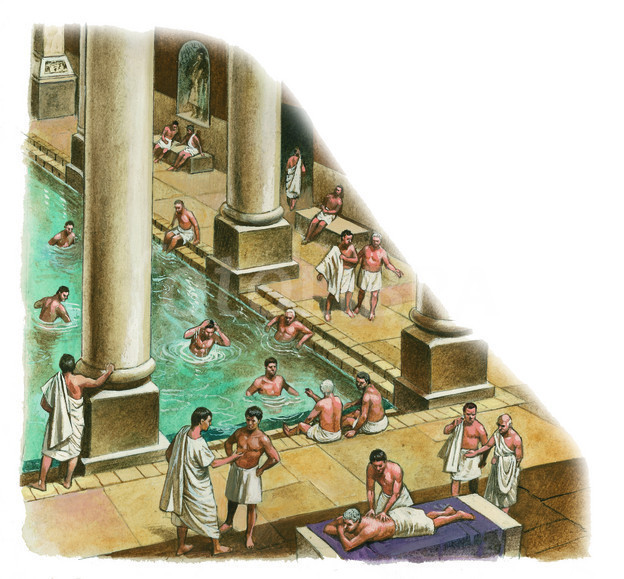 ROMAN BATHS AT BATH-ILLUSTRATION