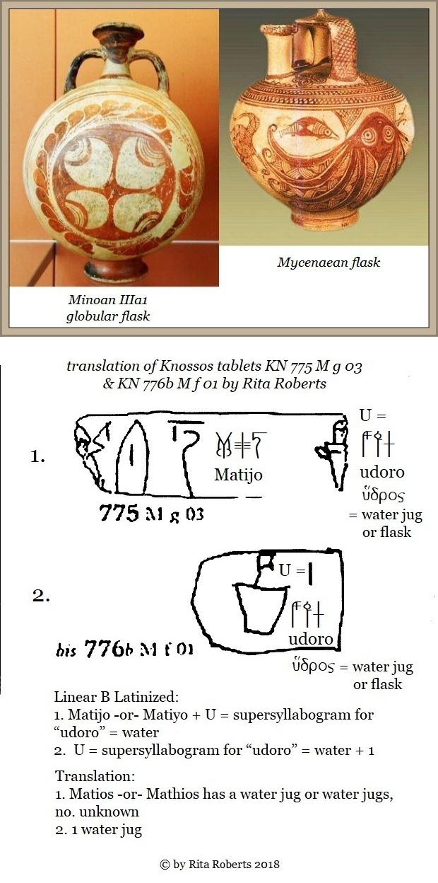 Knossos tablets KN 775 M 6 03 & KN 776b M f 01