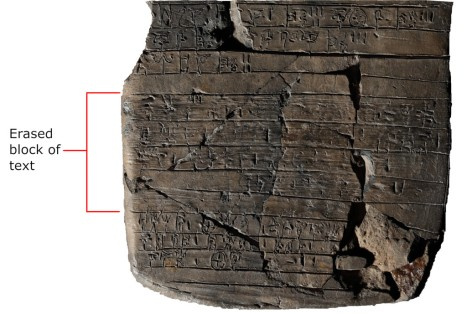 Colour photo of lower half of page-shaped clay tablet: 13 lines of text, of which a block of four in the middle have been erased. These lines show horizontal markings across them from erasure; the shapes of many of the erased signs are still visible underneath these markings.